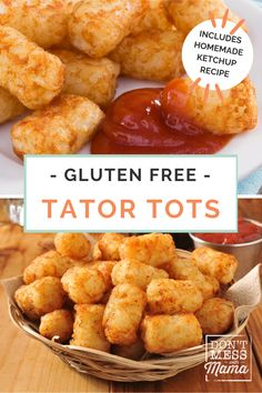 Homemade tater tots are easier to make than you think and so much better than the store-bought tots. Make them with simple wholesome ingredients plus I've got a recipe for a homemade ketchup too! They are the perfect gluten free meal idea the whole family will love. #glutenfreemealideas #homemadetatortots #tatortotsrecipe Gluten Free Tacos, Gluten Free Recipes For Kids, Gluten Free Sides Dishes, Gluten Free Dinner, Fun Recipes, Dinner Recipes For Kids, Side Recipes, Appetizer Recipes, Real Food Recipes