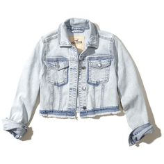 Hollister Cropped Denim Jacket (71 NZD) ❤ liked on Polyvore featuring outerwear, jackets, chaquetas, light wash, acid wash jackets, denim jacket, jean jacket, acid wash jean jacket and cropped jacket