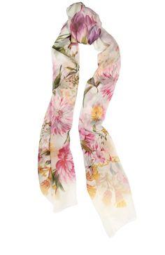 Женский белый шелковый шарф с принтом DOLCE & GABBANA — купить за 20950 руб. в интернет-магазине ЦУМ, арт. 0136/FS182A/GD867