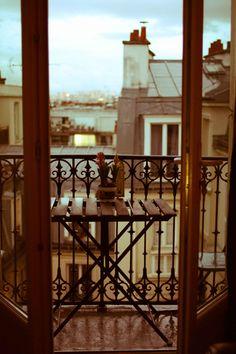 Paris Photography - Paris Balcony in the rain- 8x10 Fine Art Photograph - Paris Home Decor - Paris rooftops in the rain. $30.00, via Etsy.