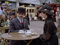 'The Chocolate Box' with David Suchet as the young Hercule Poirot who falls in love with Virginie Mesnard (Anna Chancellor). Agatha Christie's Poirot, Hercule Poirot, Detective, Death In The Clouds, The Old Curiosity Shop, David Suchet, Miss Marple, Crime Fiction, Monty Python