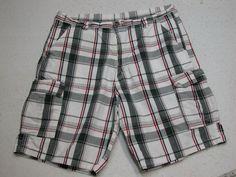 Mens Wrangler Cargo Shorts Plaid Multi-Color sz 38 100% Cotton ( Measure 38X10 )…