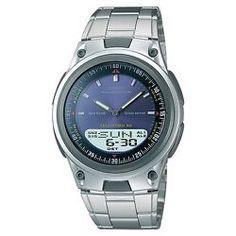 6da43634c19 Casio AW-80D-2A Data Bank Analog Digital Blue Face Stainless Steel Watch  AW-80