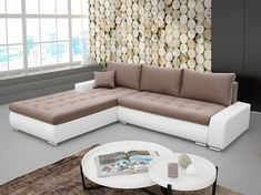 Sarok kanapé Nemisa (barna + fehér) (B) Living Room Sofa, Sofa Set, Kitchen Island, Couch, Bed, Furniture, Home Decor, Island Kitchen, Settee