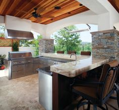 Basic Kitchen Area Concepts For Inside or Outside Kitchen areas – Outdoor Kitchen Designs Outdoor Kitchen Kits, Modular Outdoor Kitchens, Outdoor Kitchen Countertops, Outdoor Kitchen Design, Outdoor Spaces, Backyard Kitchen, Marble Countertops, Granite, Layout Design