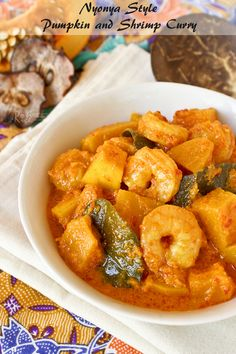 Try this aromatic Nyonya Style Pumpkin and Shrimp Curry in a rich spicy and tangy sauce today. It is delicious served with rice. | Food to gladden the heart at RotiNRice.com #RotiNRice