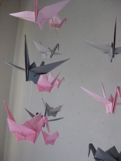 Large Origami Crane Mobile Pink and Gray by makikomo on Etsy. $25.00, via Etsy.