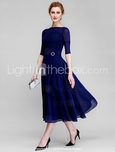 Lan Ting A-line Mother of the Bride Dress - Dark Navy Tea-length Half Sleeve Chiffon 2016 – $89.99