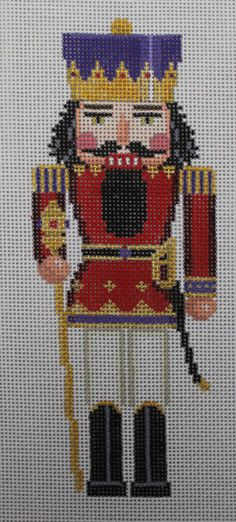 Susan Roberts Nutcracker Red & Gold King 4310 Hand Painted Needlepoint Canvas #SusanRoberts