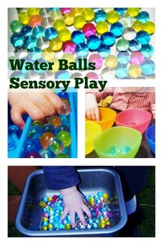 Colorfull sensory play with water balls. Also good for color sorting - Mamaliefde.nl