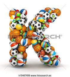letra k, juego, pelotas, alfabeto Ver Ilustración en Grande