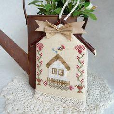 Bluebird Birdhouse Cross Stitched Garden by SnowBerryNeedleArts