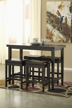 CONTEMPORARY DARK BROWN PUB SET -  This fashionable pub set features a dark brown finish and brown faux leather stool tops. A great dinette and space saver!