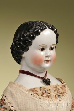 36: Early China Doll with Glass Eyes, Germany, c. 1850, : Lot 36