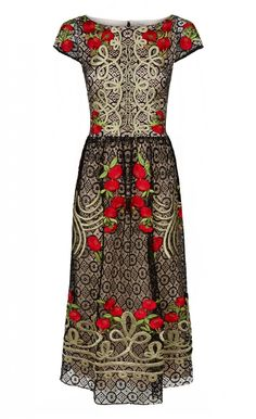Antila Dress | Midi-Length Dress | Temperley London - With exuberant embroidery onto a demure silhouette, the Antila Dress makes a standout option for evening. Inspired by the vibrant hues and patterns of Spanish folklore, this short-sleeved midi-length dress features poppy-hued satin stitched embroidered flowers and gold military-inspired details on black open-weave geometric lace. Also available in cream.