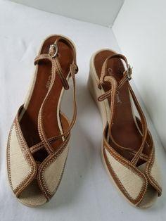4cce7f698382 Coldwater Creek WN SZ 9M Wedge Heel Open Toe Shoes Tan Beige Upper Heels   ColdwaterCreek  OpenToe  Clubwear