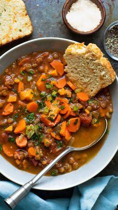 Lentil Recipes, Vegetarian Recipes, Healthy Recipes, Lentil Meals, Vegetarian Stew, Vegan Crockpot Recipes, Vegan Stew, Mexican Food Recipes, Whole Food Recipes