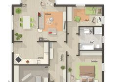 Einfamilienhaus The Stadtvilla 145 - ground floor plan - your Town & Country solid house . Bungalow House Plans, House Floor Plans, Town Country Haus, Living Haus, Ground Floor Plan, Shed Plans, Location, Living Area, Living Room