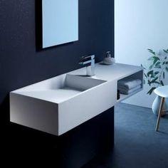Lavabo en solid surface Keaton 120x42 cm avec espace de rangement - Lavabo à suspendre en Solidsurface Blanc mat L'interieur du lavabo est en pente Lavabo est équipé d'une pla…Voir la présentation