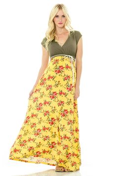 JILL MAXI DRESS - OLIVE/YELLOW FLORAL #springfashion #maternity #lilacclothing #floral #maxi #dress #olivegreen