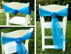 Deco Mesh Crinkle Sheer Chair Sash DIY Tutorial Rosettes Wedding How to Chair Bows, Chair Sashes, Diy Chair, Chair Fabric, Mardi Gras Outlet, Craft Outlet, Tommy Bahama Beach Chair, Outdoor Wreaths, Glue Crafts