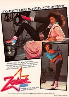 Laura Branigan for Zodiac Boots, 1983 Vintage Advertisements, Vintage Ads, Deborah Foreman, 80s Ads, Bad Fashion, Fashion Shoot, Style Fashion, Fashion Tips, Fashion Trends
