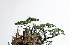 Takanori Aiba created these complex miniature buildings.