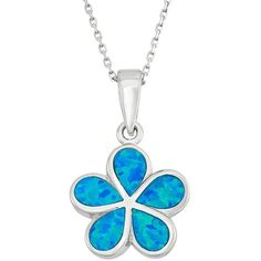 Lab-Created Blue Opal Sterling Silver Flower Pendant Necklace ($60) ❤ liked on Polyvore featuring jewelry, necklaces, blue, sterling silver chain necklace, blue pendant, pendants & necklaces, pandora charms and chain necklace