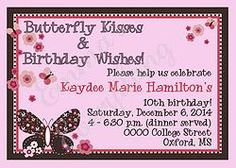 Butterfly Kisses Birthday Party Invitations