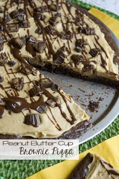 Baked box brownie crust topped with sweet peanut butter, chopped mini peanut butter cups, and drizzled with chocolate frosting! The perfect, show-stopping dessert!
