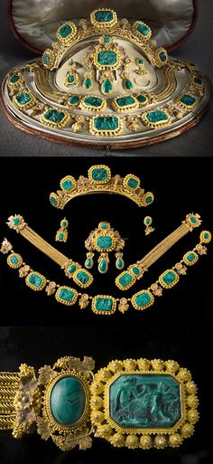 Neoclassical parure of gold and malachite that has belonged to Queen Sophia of Sweden and of Norway. Created by the jeweler Simon Petiteau in Paris, probably in the 1820s or 1830s.