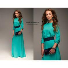 maxi dress Платье длины макси бирюзовое с синим поясом DM00138TR