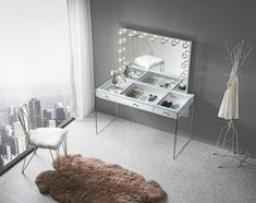 SlayStation® Kimberly Mirrored Vanity Table - Impressions Vanity Co.