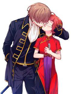 Anime: Gintama Personagens: Okita Sougo e Kagura Manga Couple, Anime Love Couple, Cute Anime Couples, Gintama, Okikagu, Anime Ships, Shoujo, Doujinshi, Manhwa