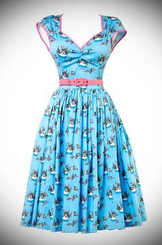 Introducing the limited edition Magic of Mary Blair Cat Print Heidi Dress in Grey & Blue. Deadly is the Female are proud UK stockists of Pinup Couture, a Pinup Girl Clothing Housebrand