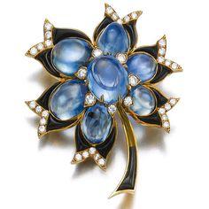 Bulgari Sapphire Brooch - Category:Famous Jewelers - AJU