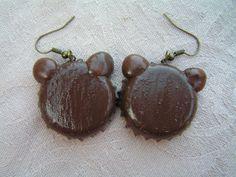 The back of the earrings Bottle Cap Earrings