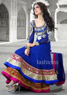 Blue Zardosi Work Chiffon Designer Anarkali Salwar Suit