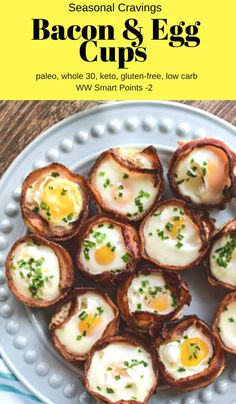 These Bacon and Egg Cups are perfect for a quick, healthy breakfast. Meal prep them ahead and take them on the go.  They are easy to make in a muffin tin.  #glutenfree #keto #lowcarb #whole30 #paleo