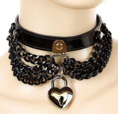Black Metal Chain Heart Locket Choker Alternative Clothing Emo Collar