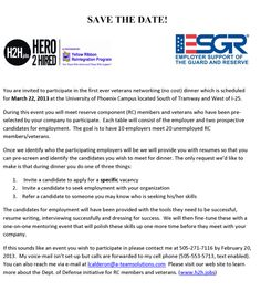 SAVE THE DATE! - University of Phoenix, AZ - March 22, 2013  Veteran networking dinner - no cost