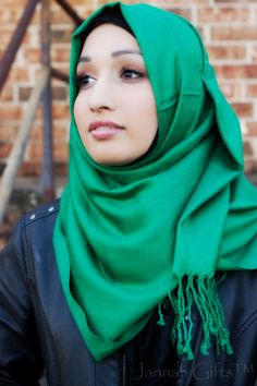 Green is the new black! We love this Forest Pashmina hijab. $12.99 find hijabi styles like this at www.jannahgifts.com