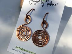 Boho hammered spiral earrings, copper / silver Celtic jewelry, unique handmade jewelry gift, women's gift under 30,…