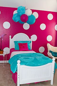Great colors for a girl's room...I don't know about painting the wall hot pink...perhaps the circles would be better