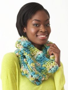 Free Pattern - Popcorn stitches make a statement in this fun and chunky cowl. #Crochet it in Bernat Softee Chunky.