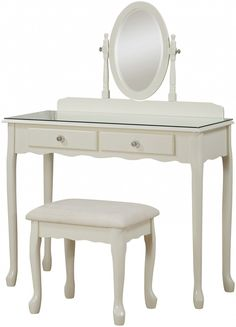 French vintage inspired Loire Dressing Table and Stool. Features decoratively shaped wardrobe tops, tempered glass topped chests.and crystal handles for a chic feel #sale #dresser #dressingtable #vintage