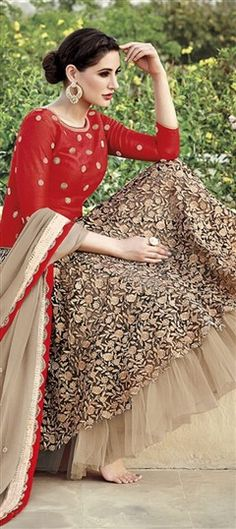 436298 Beige and Brown, Red and Maroon  color family Bollywood Salwar Kameez in Net, Silk fabric with Machine Embroidery, Patch work .