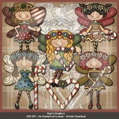 Christmas Fairies... Clip Art & Digi Stamps by Rajiv's Graphics