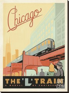 Chicago: The 'L' Train Stretched Canvas Print by Anderson Design Group at Art.com