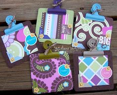 Clutter-Free Classroom: Clipboards in the Classroom -  cute post-it clipboards made with a coaster, scrapbook paper and a clip. Easy. Cheap. Lovely.